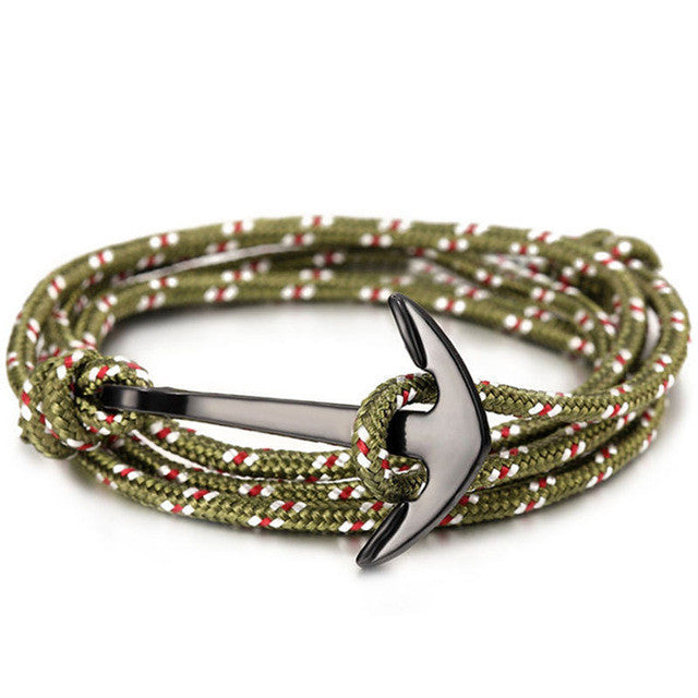 ShopiHub GreenStripes Alloy Anchor Bracelet
