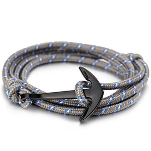 ShopiHub GreyStripes Alloy Anchor Bracelet