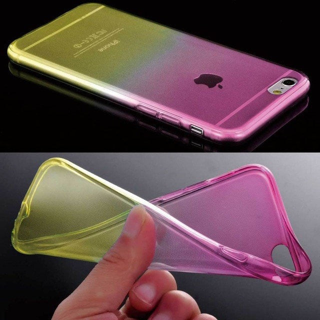 ShopiHub Pink Yellow / For iPhone 6 6S Soft Transparent Gradient Case For iPhones