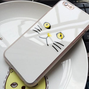 ShopiHub white Cat / For iphone 5 5s SE Reflective Cat Face Cases for iPhone