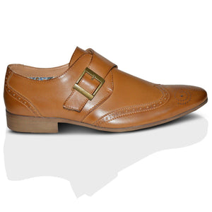 Mens Leather Lined Brogues Monk Strap Buckle Shoes