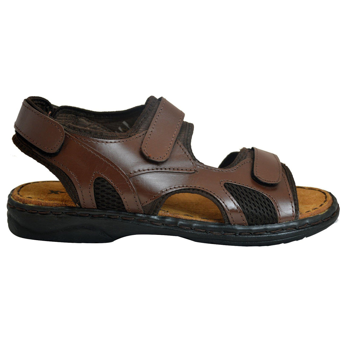 Mens Summer Sandals Leather Velcro Strap Beach Mules