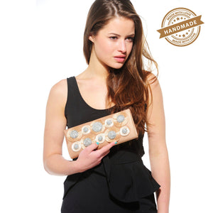 Xelay Womens Handmade Beige Bridal Swarovski Clutch Bag