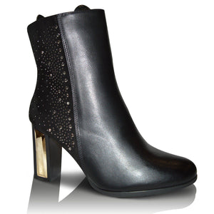 Womens Gold Chunky Diamante Block Heel Chelsea Hi Ankle Boots