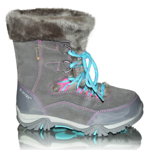 Kids Girls Hi Tec Waterproof Thermal Warm Snow Fur Wellington Boots