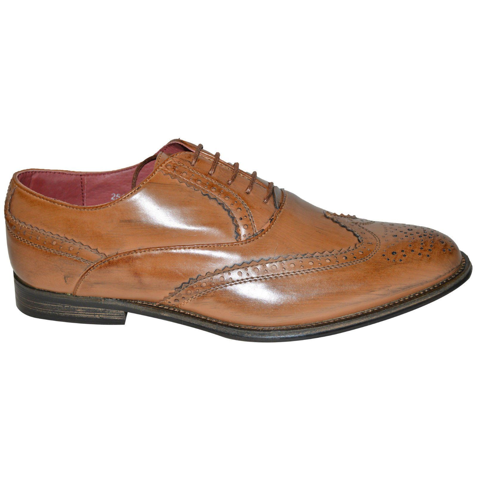 Mens 100% Leather Lined 2Tone Brogues Wedding Formal Shoes