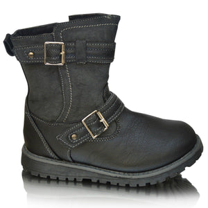 Girls Casual Zip Up Buckle Shoes School Ankle Biker Boots