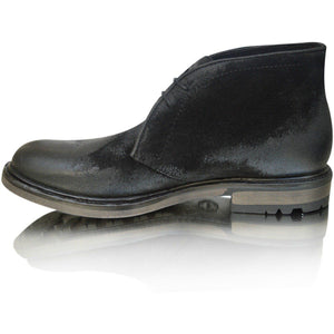 Mens Leather Black Charcoal Casual Chukka Desert Ankle Boots Shoes