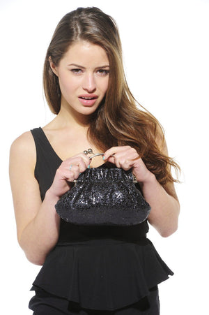 Xelay Womens Black Handmade Party Glittery Hand Clutch Bag