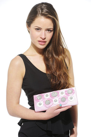 Xelay Womens Handmade Pink Bridal Swarovski Clutch Bag