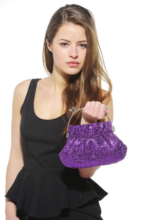 Xelay Womens Purple Handmade Party Glittery Hand Clutch Bag