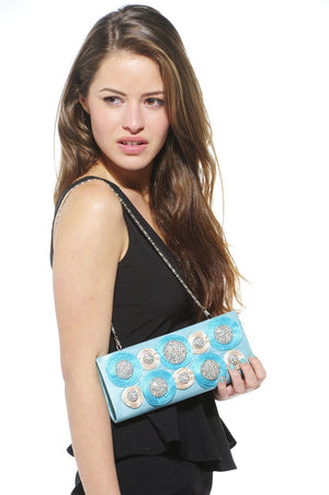Xelay Womens Handmade Aqua Blue Bridal Swarovski Clutch Bag