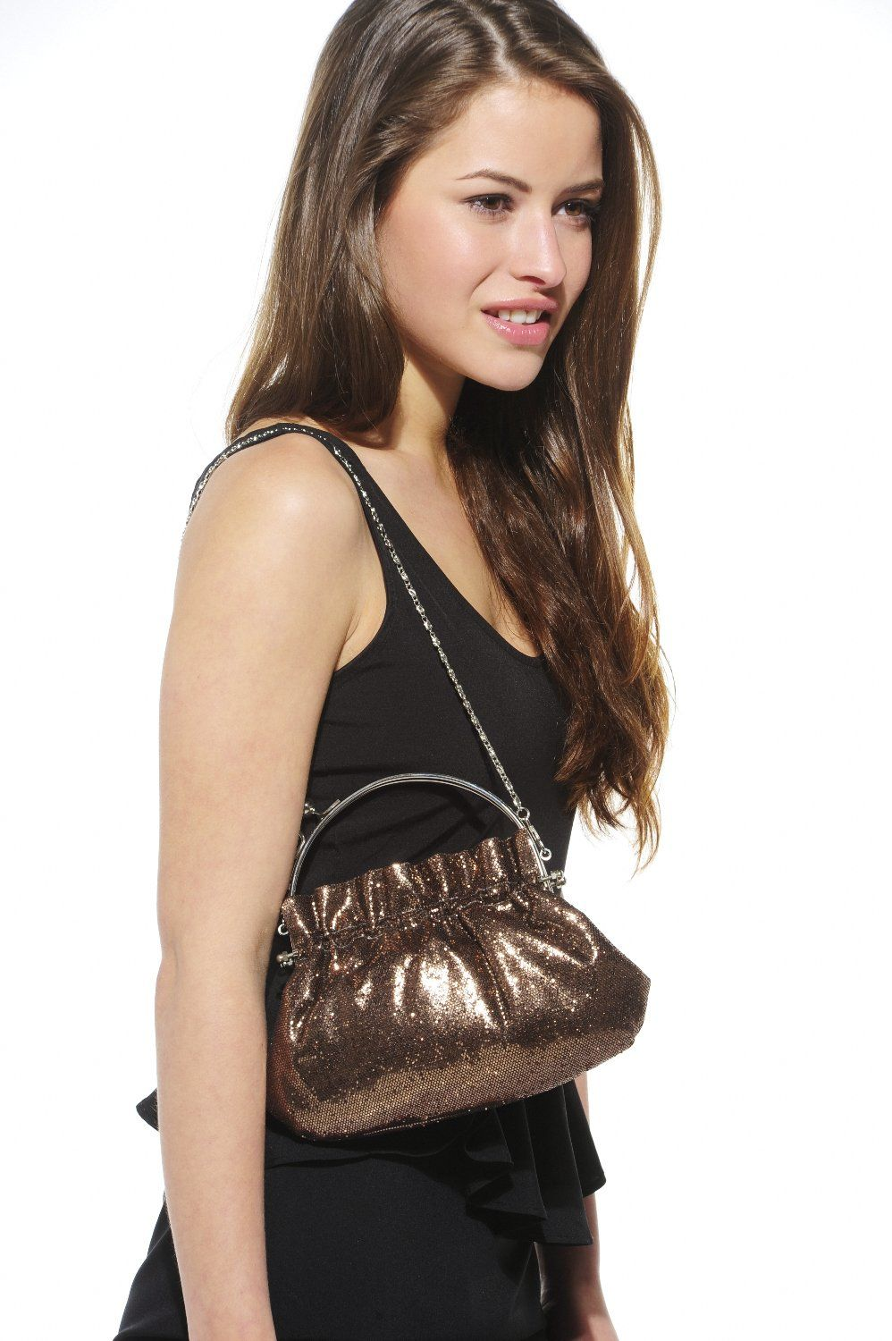 Xelay Womens Brown Handmade Party Glittery Hand Clutch Bag