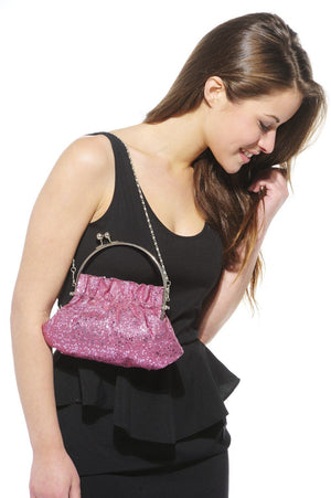Xelay Womens Pink Handmade Party Glittery Hand Clutch Bag