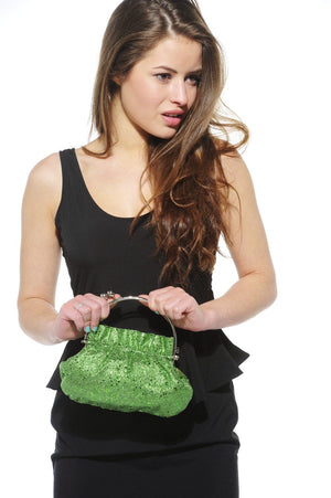 Xelay Womens Green Handmade Party Glittery Hand Clutch Bag