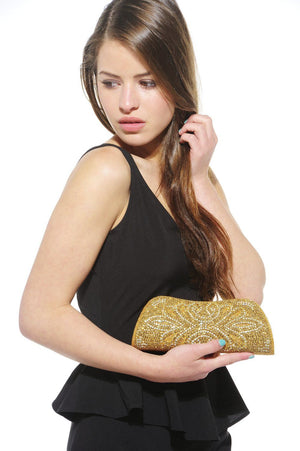 Xelay Womens Handmade Gold Bridal Embellished Clutch Bag