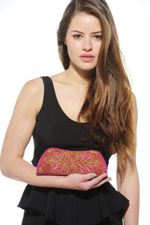 Xelay Womens Handmade Pink Bridal Embellished Clutch Bag