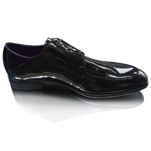 Mens Black Leather Patent Italian Formal Dress Lace Up Shoes
