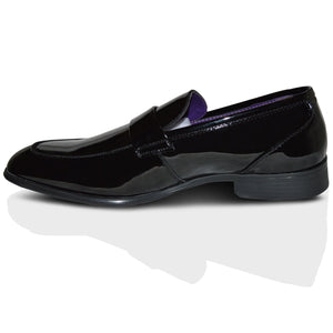 Mens Italian Black Leather Patent Formal Dress Slip On Shoes