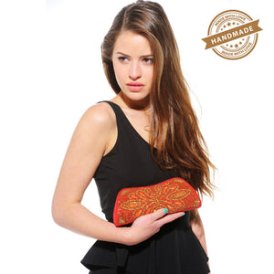 Xelay Womens Handmade Red Bridal Embellished Clutch Bag