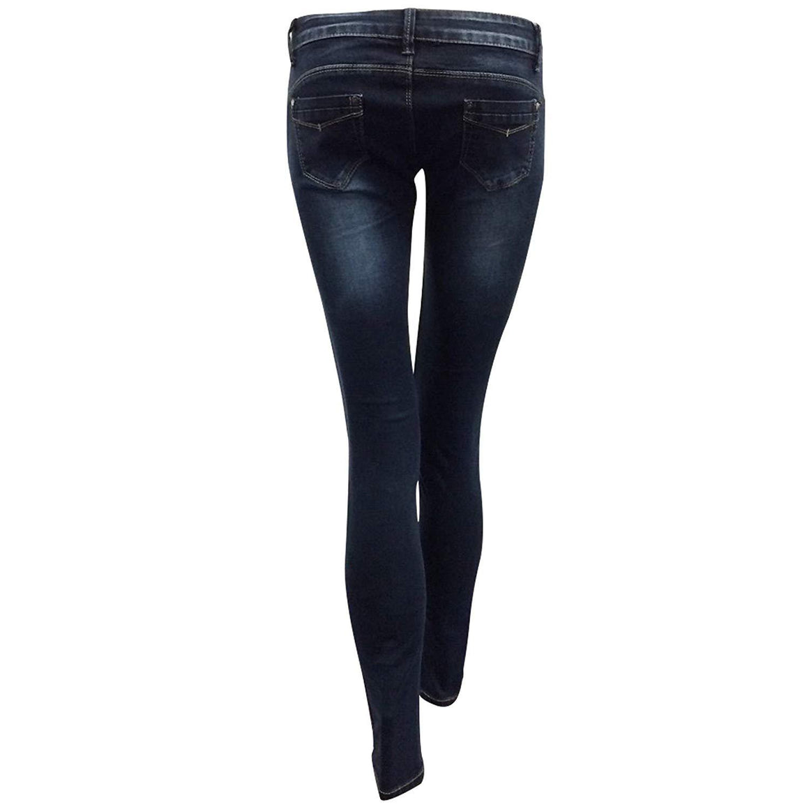 Womens Stretchy Super Skinny Fit Jeans Faded Ripped Denims