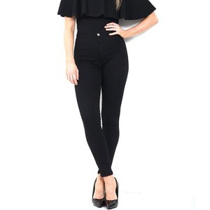 Womens Stretchy Mid Rise Skinny Fit Jeans Plain Black