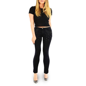 Womens Stretchy High Waisted Skinny Jeans Black Studded