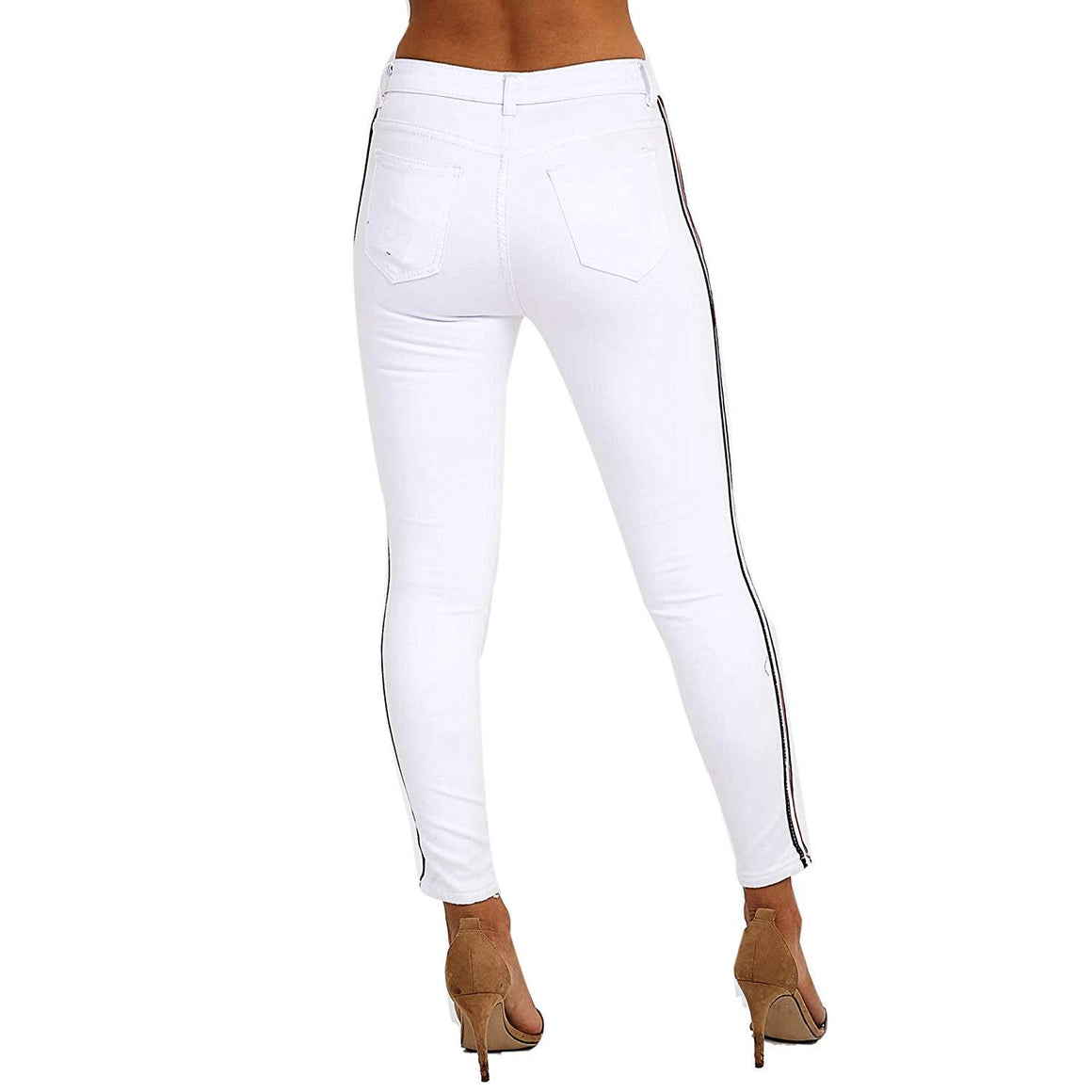 Womens Stretchy Mid Rise Super Skinny Fit White Jeans