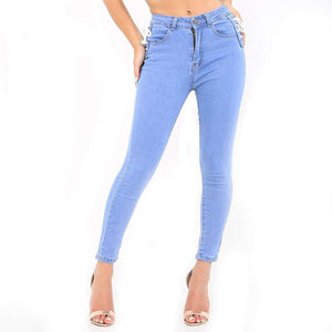 Womens Stretchy High Waisted Skinny Blue Wash Lace Jeans