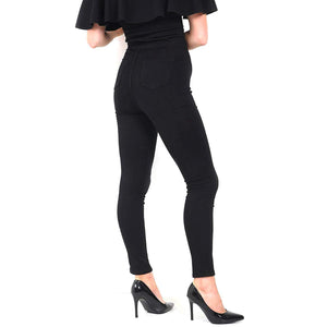 Womens Stretchy Mid Rise Skinny Fit Jeans Knee Cut Black