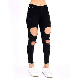 Womens Stretchy Mid Rise Skinny Fit Jeans Extreme Ripped Black