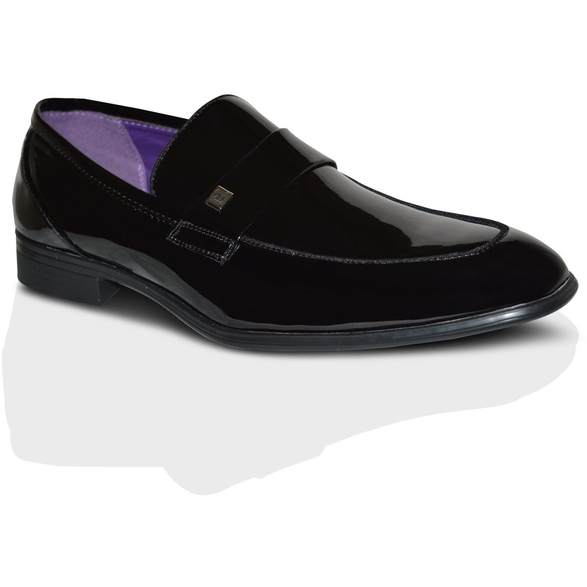 2e7e2bcec9884 Mens Italian Black Leather Patent Formal Dress Slip On Shoes