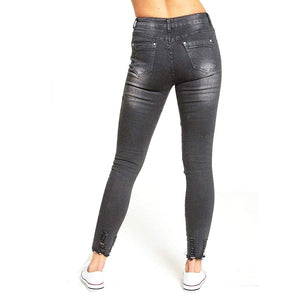 Womens Stretchy Ribbed Biker Grey Mid Rise Skinny Jeans Denims