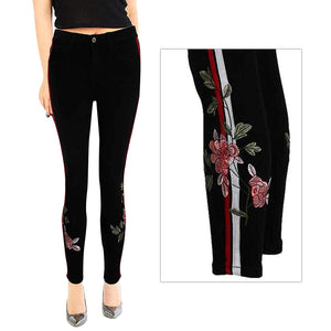 Womens Stretchy High Waisted Skinny Jeans Black Floral Embroidered