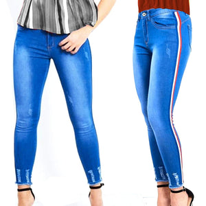 Womens Stretchy High Waisted Skinny Blue Stripes Jeans