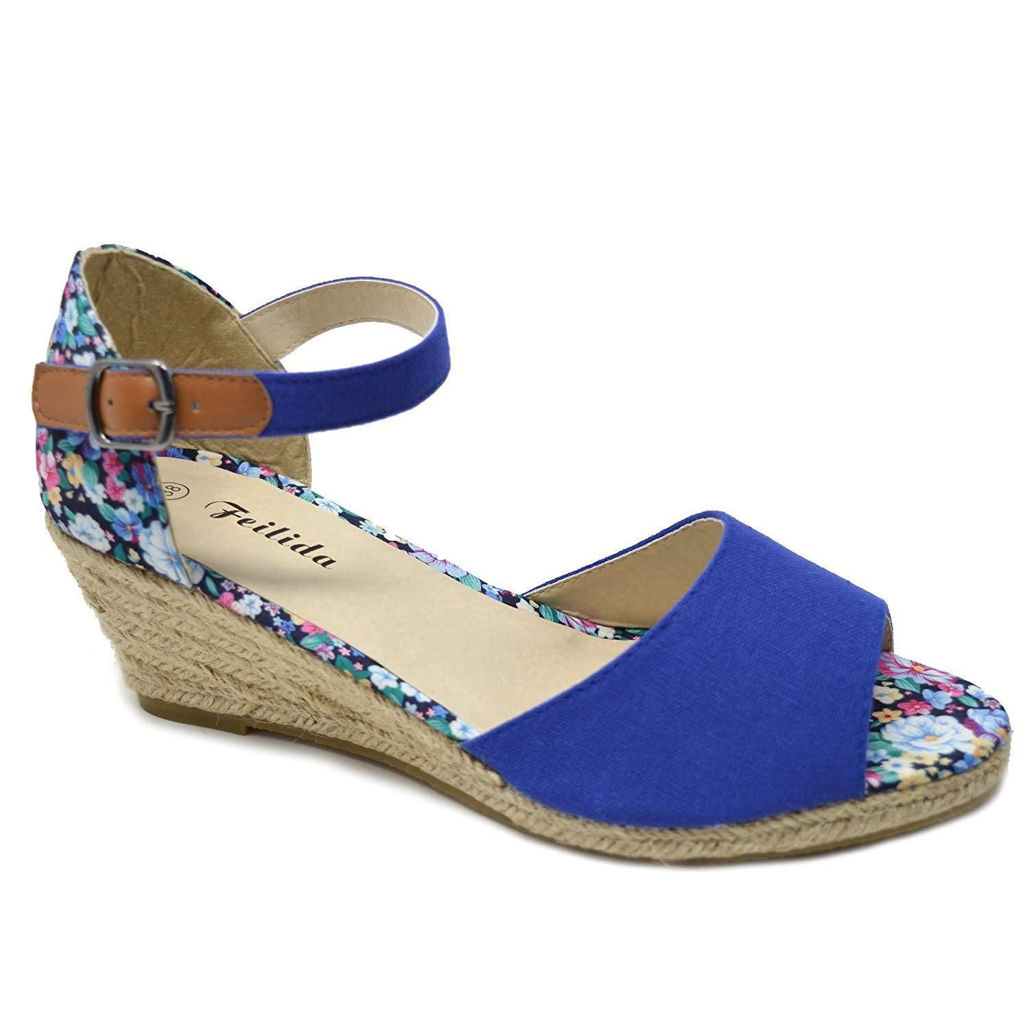 518404a0305 Xelay Womens Wedge Sandals Espadrille Ankle Strap Buckle Peep Toe Summer  Shoes Size 3-8