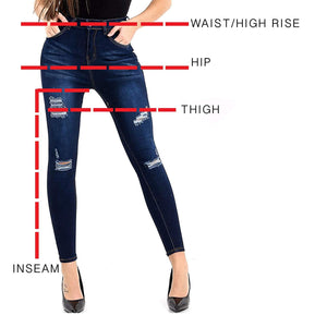 Womens Stretchy Super Skinny Ripped Jeans Dark Blue Denims