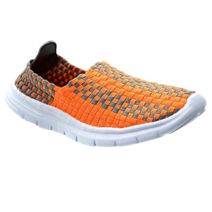 Womens Sports Elasticated Woven Trainers Casual Pumps Low Top Slip On Shoes