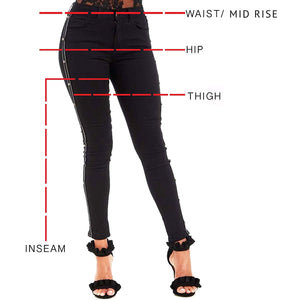 Womens Stretchy Mid Rise Skinny Jeans Buttons Black Denims