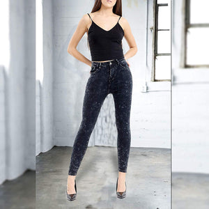 Womens Stretchy Super Skinny Fit Jeans Black Acid Wash Denims