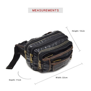 Xelay Travel Leather Bum Bag with 6 Zipper Pockets and Hook Black