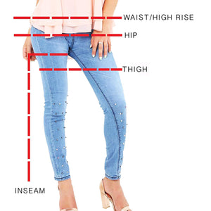 Womens Stretchy High Waisted Skinny Light Blue Studs Jeans