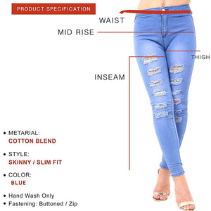 Womens Stretchy Mid Rise Skinny Jeans Ripped Denims