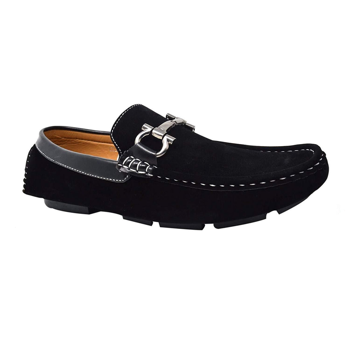 Mens Suede Loafers Black Slip On Driving Moccasins Flat Shoes