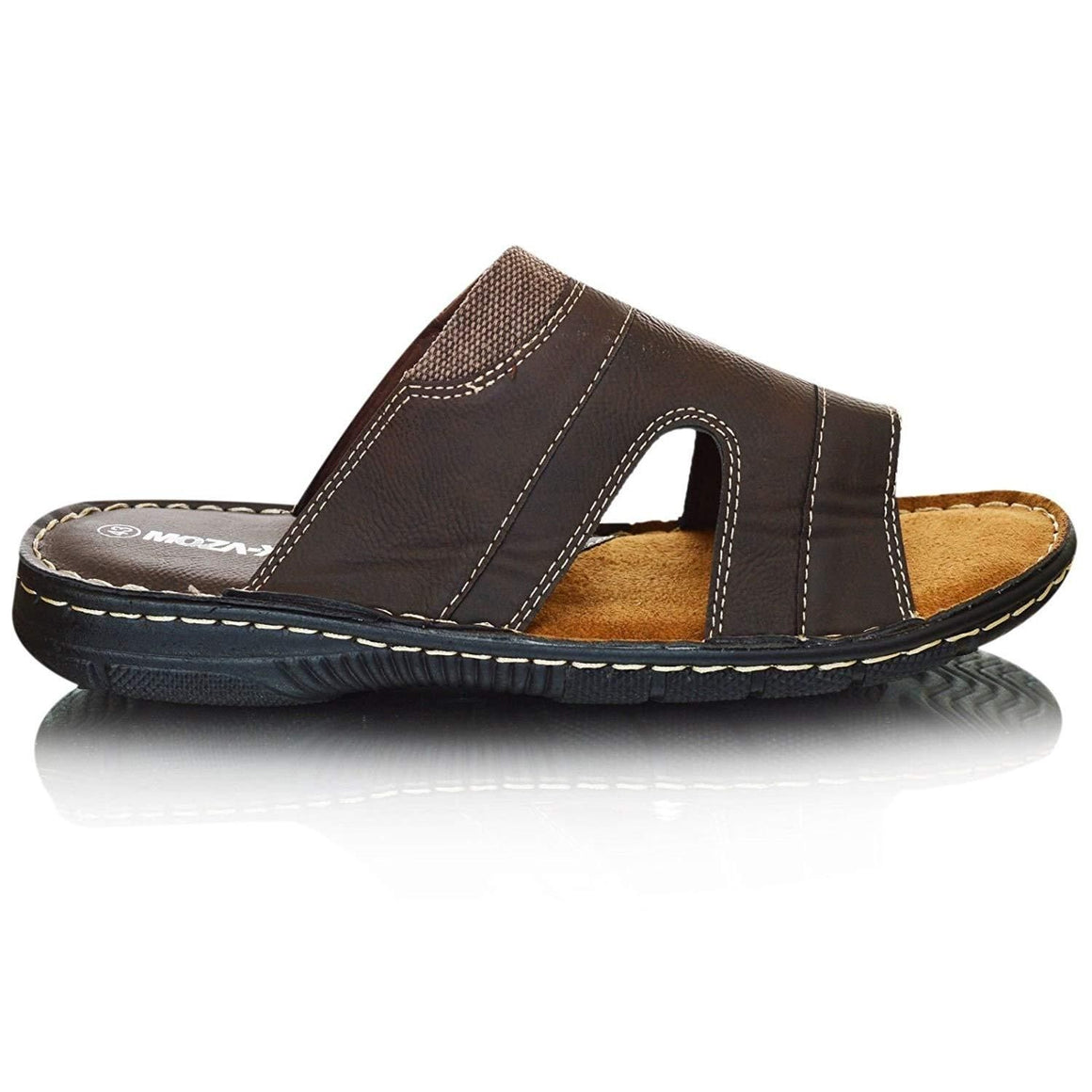 Mens Leather Comfort Mules Sandals Flip Flops Cushioned
