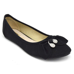 Xelay Womens Flats Ballerina Ballet Black Studded Pumps Loafer Comfy Slip On Work Shoes Size 3-8