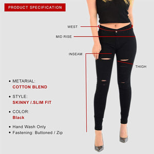 Womens Stretchy Mid Rise Skinny Fit Jeans Multi Cut Black