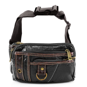 Xelay Smart Travel Leather Bum Bag with 6 Zipper Pockets Black