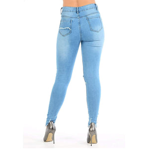 Womens Stretchy Mid Rise Super Skinny Jeans Knee Cut Denims