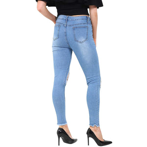 Womens Stretchy Mid Rise Skinny Fit Extreme Distressed Ripped Jeans